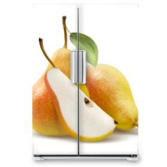 Naklejka na lodówkę - Two yellow pears and quarter split isolated on white