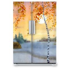 Naklejka na lodówkę - Birches in snowy field