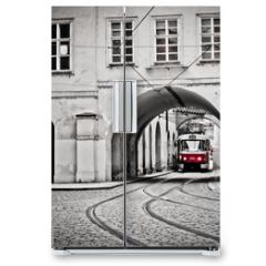 Naklejka na lodówkę - Red tram