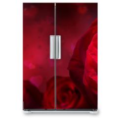 Naklejka na lodówkę - valentine invitation with hearts and red roses