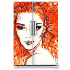 Naklejka na lodówkę - woman portrait  .abstract  watercolor .fashion background