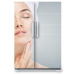 Naklejka na lodówkę - applying cosmetic cream
