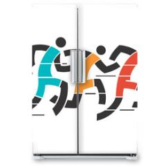 Naklejka na lodówkę - Running race