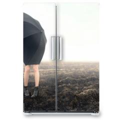 Naklejka na lodówkę -  girl with umbrella on black field