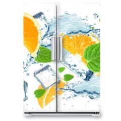 Naklejka na lodówkę - orange and water splash