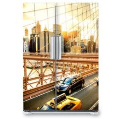 Naklejka na lodówkę - New York City, Brooklyn Bridge skyline