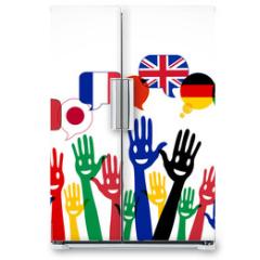Naklejka na lodówkę - mains bulles : apprendre les langues étrangères