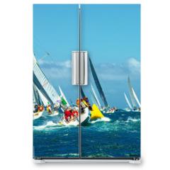 Naklejka na lodówkę - Sailing yachts regatta. Series yachts and ships