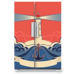 Naklejka na lodówkę - Lighthouse label with anchor and blue sea waves