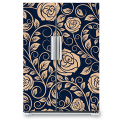 Naklejka na lodówkę - Vintage roses flowers seamless pattern
