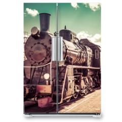 Naklejka na lodówkę - Old steam locomotive, vintage train.