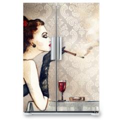 Naklejka na lodówkę - Retro woman portrait with cigarette . watercolor illustration