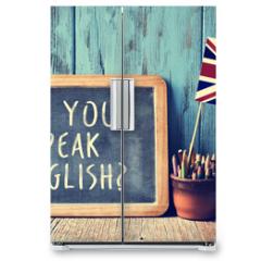 Naklejka na lodówkę - text do you speak english? in a chalkboard, filtered