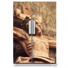 Naklejka na lodówkę - Jesus Christ crucified (an ancient wooden sculpture)