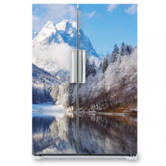 Naklejka na lodówkę - Winter landscape with lake and reflection