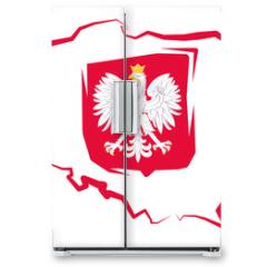 Naklejka na lodówkę - Mapa Polski z godłem