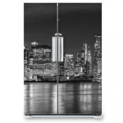 Naklejka na lodówkę - Black and white New York City at night panoramic picture, USA.