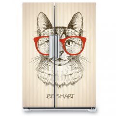 Naklejka na lodówkę - Vintage graphic poster with hipster cat with red glasses.