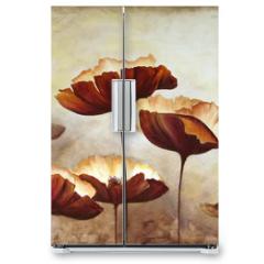 Naklejka na lodówkę - Painting poppies canvas