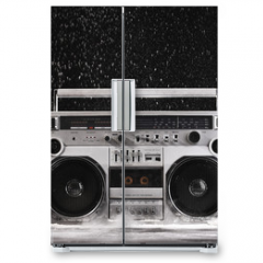 Naklejka na lodówkę - 1980s Silver Retro ghetto blaster and dust isolated on black wit
