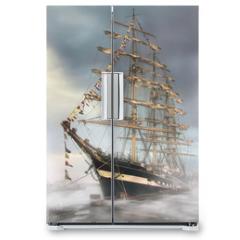 Naklejka na lodówkę - Ship in the fog