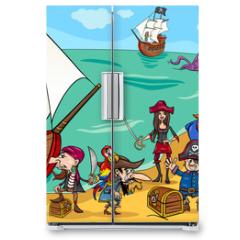 Naklejka na lodówkę - pirates with ship cartoon