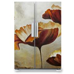 Naklejka na lodówkę - Painting poppies with texture