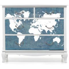 Naklejka na meble - World map, vintage