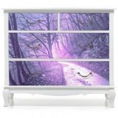 Naklejka na meble - Magical foggy purple, serenity pantone color light in mystic forest with road.