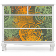 Naklejka na meble - Wallpaper seamless pattern with hand drawn oranges citrus