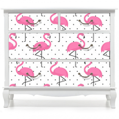 Naklejka na meble - Flamingo seamless pattern on polka dots background. Flamingo vector background design for fabric and decor.