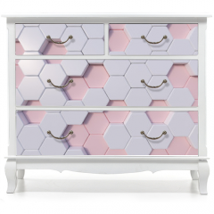 Naklejka na meble - Rose Quartz  abstract 3d hexagon background bee hive