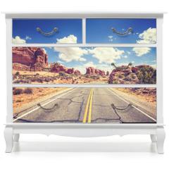 Naklejka na meble - Retro stylized scenic road, Arches National Park, USA