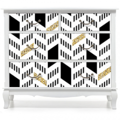Naklejka na meble - Seamless Chevron Pattern. With Glittering Gold and thin lines