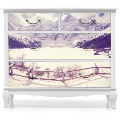 Naklejka na meble - Vintage stylized frozen lake Morskie Oko in Tatra Mountains, most popular mountain lake in Poland.