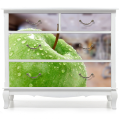 Naklejka na meble - Apfel mit Fitnessstudio Hintergund