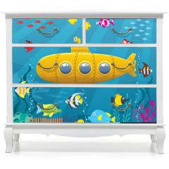 Naklejka na meble - Submarine Background / Cartoon yellow submarine underwater.