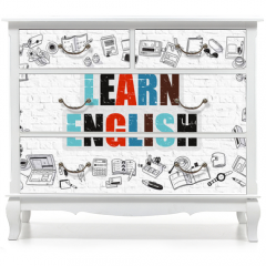 Naklejka na meble - Learn English Concept. Multicolor Inscription on White Brick Wall with Doodle Icons Around. Modern Style Illustration with Doodle Design Icons. Learn English on White Brickwall Background.