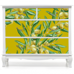 Naklejka na meble - Background olive branch. seamless pattern. watercolor illustrati