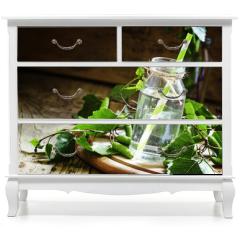 Naklejka na meble - Birch sap, wood background, rustic style, selective focus