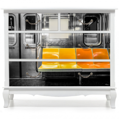 Naklejka na meble - New York City subway car interior with colorful seats