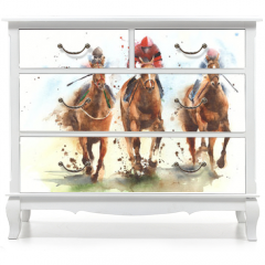 Naklejka na meble - Horse racing race riding sport jockeys competition horses running watercolor painting illustration