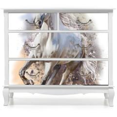 Naklejka na meble - White horse runs watercolor painting