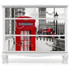 Naklejka na meble - London Telephone Booth and Big Ben