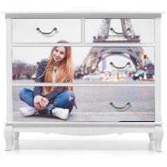 Naklejka na meble - smiling happy beautiful woman tourist in Paris looking at camera, portrait of caucasian girl near Eiffel Tower