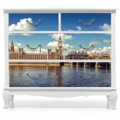 Naklejka na meble - Panoramic picture of Houses of Parliament, Big Ben and Westminster Bridge, London