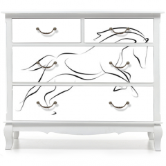 Naklejka na meble - Running black line horse on white background. Vector graphic.