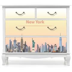 Naklejka na meble - vector illustration of New York city skyline at sunrise