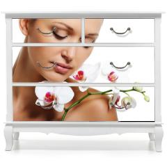 Naklejka na meble - Skin treatment for beauty adult woman