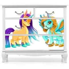 Naklejka na meble - Baby unicorn and pegasus with cute eyes